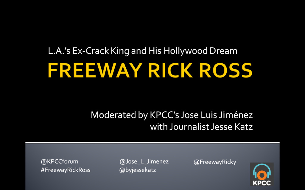 Join Freeway Rick Ross and award-winning journalist/author Jesse Katz at the Crawford Family Forum for a LIVE conversation with KPCC's Jose Luis Jiménez.