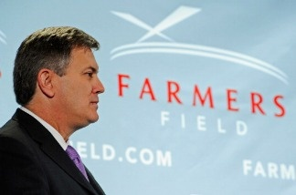 Tim Leiweke, President and CEO of AEG, during an event announcing naming rights for the new football stadium Farmers Field at Los Angeles Convention Center.