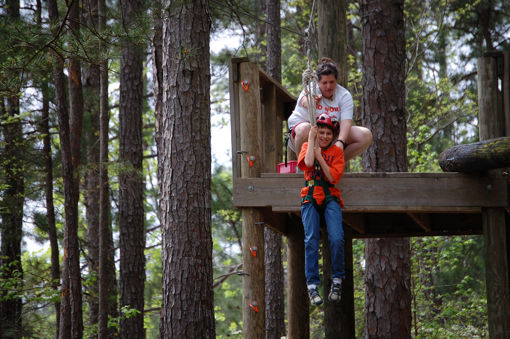 Families with autistic members take part in an Alabama Autism Family Camp Weekend.