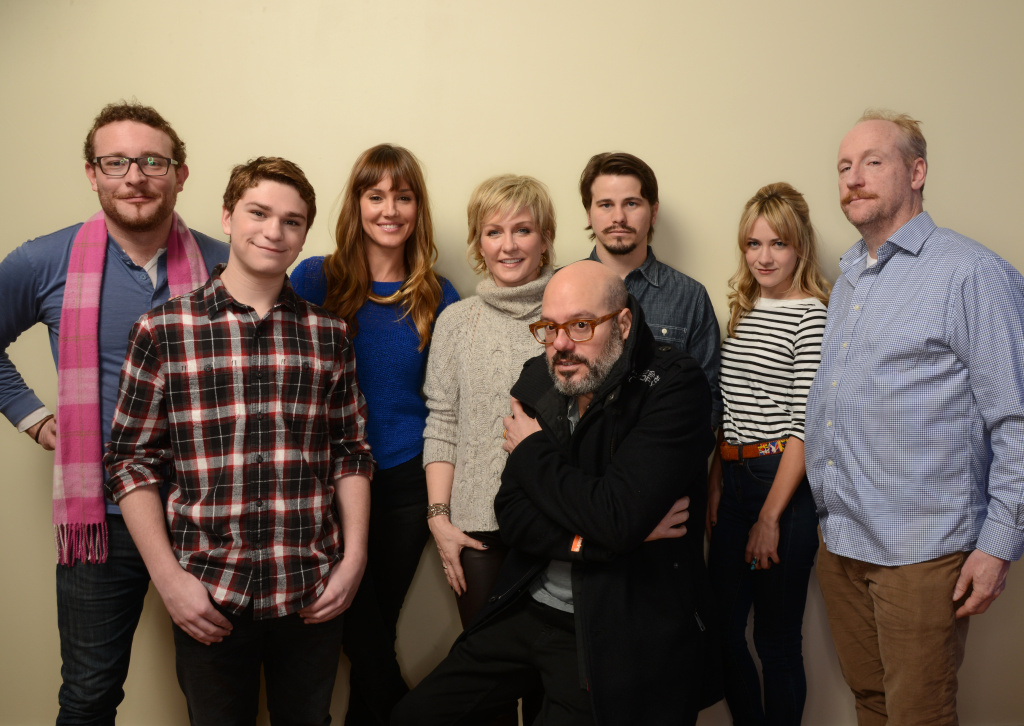 PARK CITY, UT - JANUARY 21: (L-R) Actors James Adomian, Jake Cherry, Erinn Hayes, and Amy Carlson, filmmaker David Cross, and actors Jason Ritter, Meredith Hagner, and Matt Walsh pose for a portrait during the 2014 Sundance Film Festival at the Getty Images Portrait Studio at the Village At The Lift on January 21, 2014 in Park City, Utah.  (Photo by Larry Busacca/Getty Images)