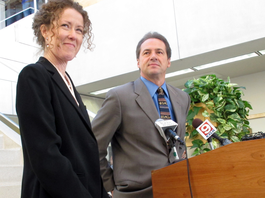 Tracy Stone-Manning (left) was named in 2012 by Gov.-elect Steve Bullock to run the Montana Department of Environmental Quality, in Helena, Mont. Stone-Manning has been nominated by President Joe Biden to lead an agency that oversees about a quarter-billion acres of public lands in western states.