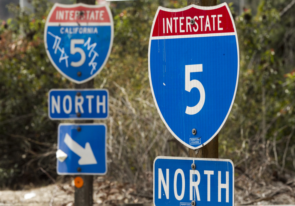 California Interstate 5 signs in Los Angeles on Feb. 6, 2014.