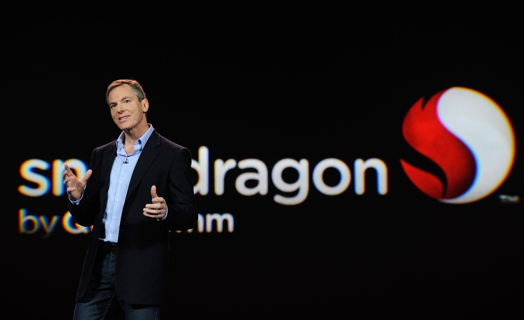 Chairman and CEO Dr. Paul E. Jacobs of Qualcomm delivers a keynote address at the 2012 International Consumer Electronics Show. The company beat earnings expectations for its fiscal second quarter but disappointed on guidance for the rest of the year.
