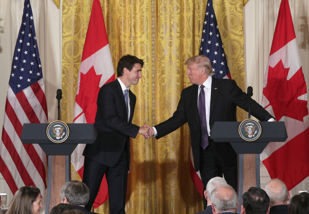 U.S. President Donald Trump (R) and Canadian Prime Minister Justin Trudeau participate in a joint news conference in the East Room of the White House on February 13, 2017 in Washington, DC.