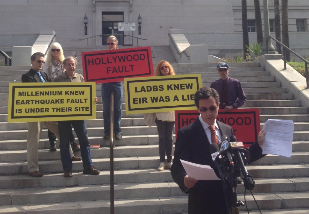 Attorney Robert Silverstein and opponents of the Hollywood Millennium Towers gathered Wednesday on the steps of Los Angeles City Hall.