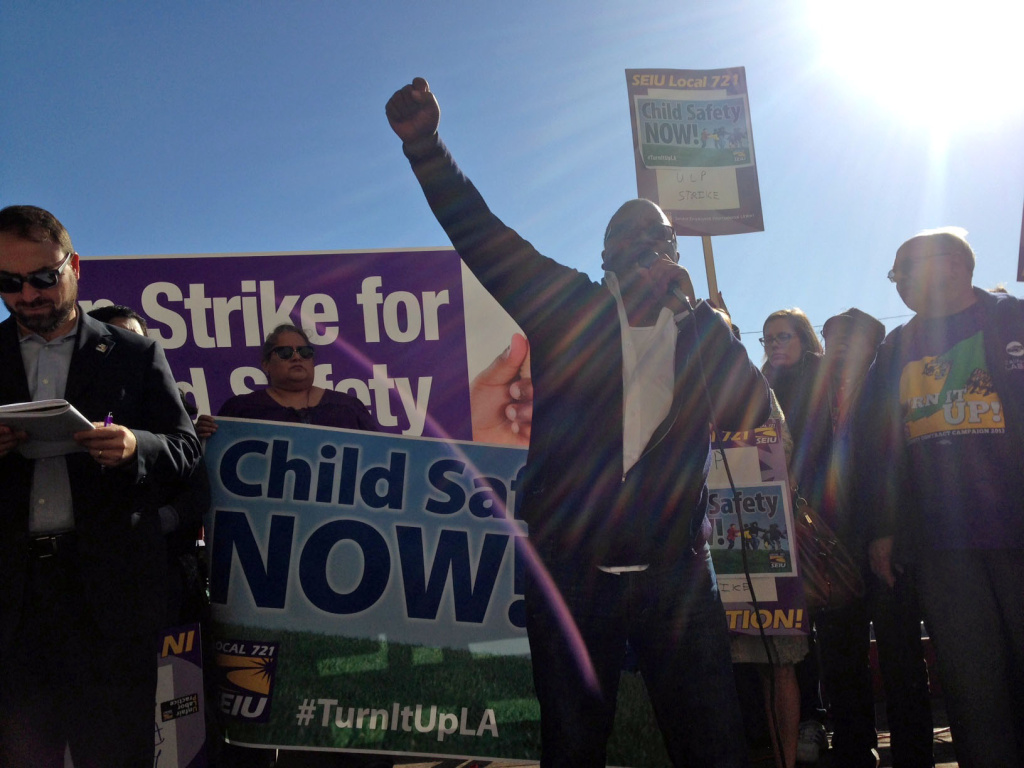 Striking workers outside the Department of Children and Family Services office south of downtown Los Angeles on Thursday, Dec. 5, 2013.