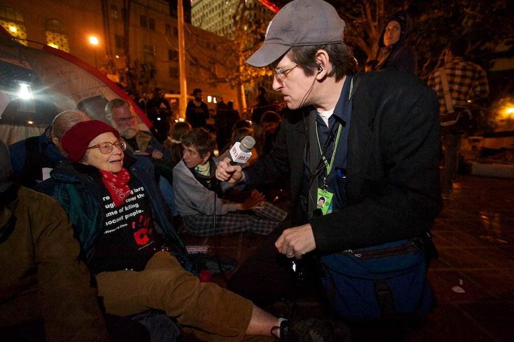 Off-Ramp host John Rabe with 79-year old OccupyLA protestor Dorothy