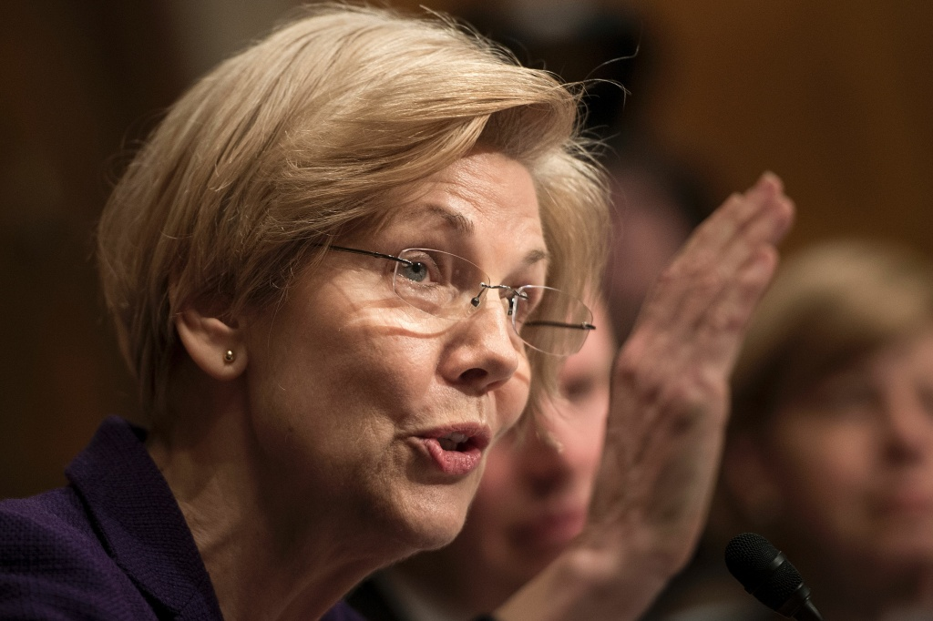 Senator Elizabeth Warren (D-MA) speaks during Betsy DeVos's confirmation hearing for Secretary of Education.