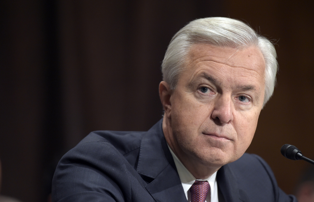 Wells Fargo Chief Executive Officer John Stumpf  testifies on Capitol Hill in Washington, Tuesday, Sept. 20, 2016, before Senate Banking Committee. Stumpf was called before the committee for betraying customers' trust in a scandal over allegations that employees opened millions of unauthorized accounts to meet aggressive sales targets.