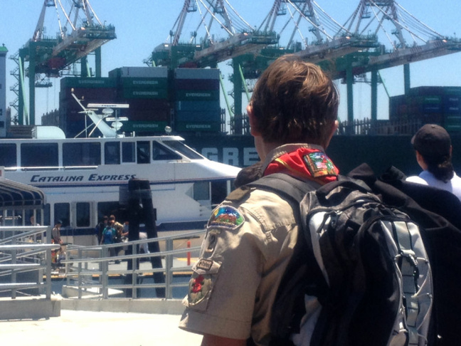 A passenger prepares to board the Catalina Express at its new location.