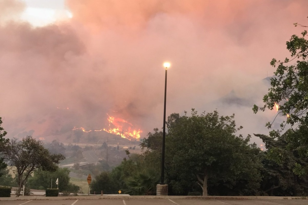 The Canyon Fire burns in the Anaheim area on Monday, Sept. 25, 2017.