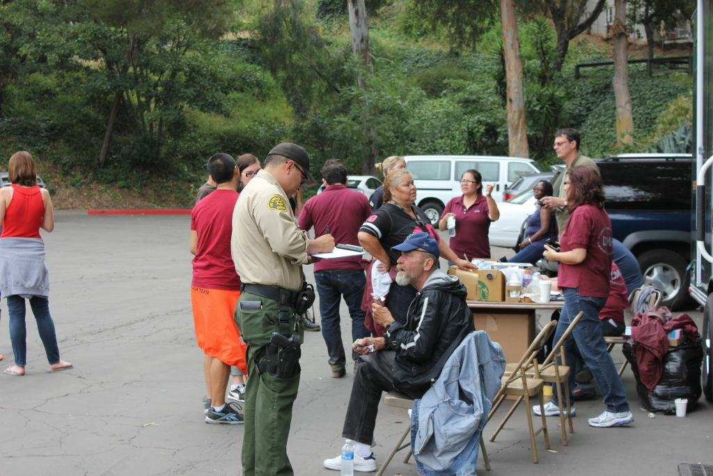 LASD Parks Bureau deputies and numerous organizations responded to the hills surrounding the Hollywood Bowl for a Homeless Outreach Operation on Thursday, July 12, 2012.