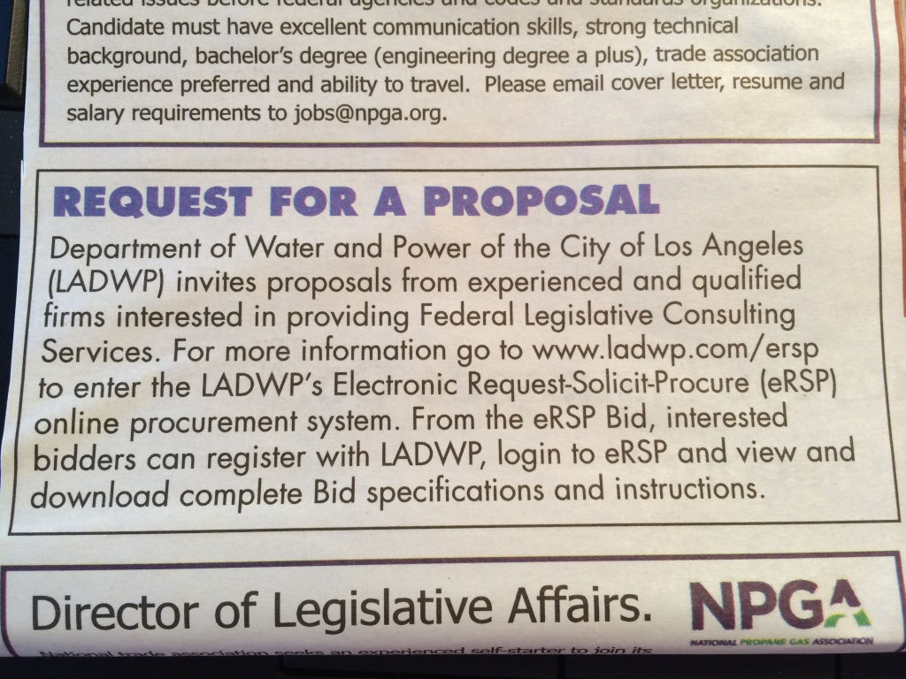The Department of Water and Power is looking for a new lobbyist on Capitol Hill.