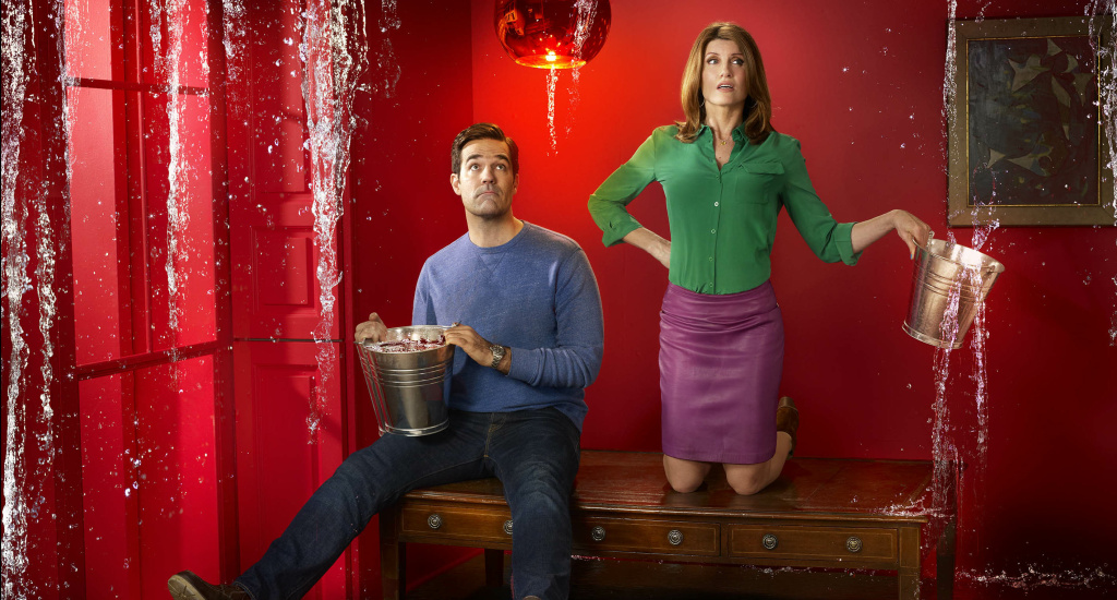 Still from the Amazon Prime program, Catastrophe - starring Rob Delaney and Sharon Horgan