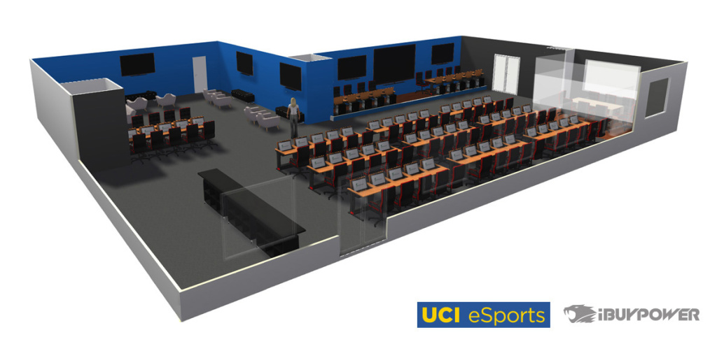 A rendering of UC Irvine's upcoming e-sports