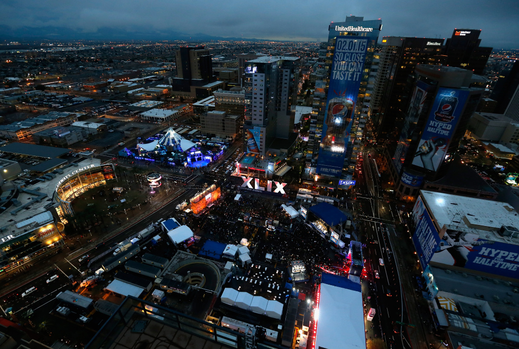 A general view of downtown Phoenix in advance of Super Bowl XLIX on January 30, 2015. The game, between the Seattle Seahawks and New England Patriots, will be held at the University of Phoenix Stadium on Febrauary 1, 2015.