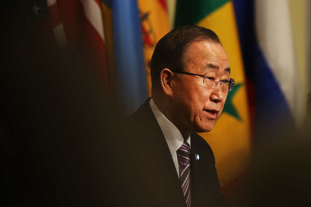 United Nations Secretary-General Ban Ki-moon makes comments to the media before the Security Council holds a closed-door meeting on January 6, 2016 in New York City.