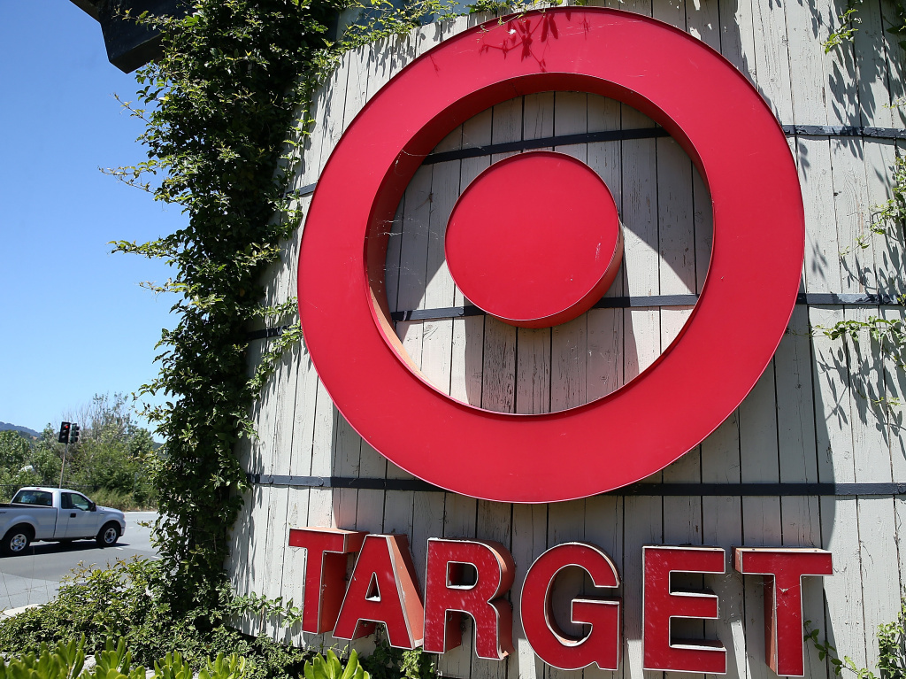 File photo: The sign in front of a Target store in Novato, Calif. A man was killed by police officers after he led sheriff's deputies on a car chase after pulling out scissors at a Target store.