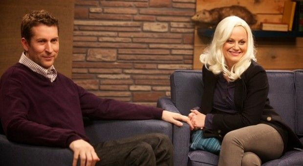 Scott Aukerman with Amy Poehler on IFC's Comedy Bang Bang.
