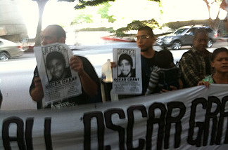 Oscar Grant supporters chanting outside Los Angeles criminal courts building, July 8, 2010.