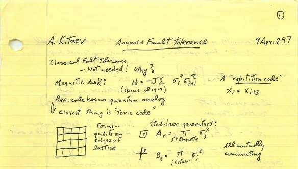 An excerpt from John Preskill's notes taken at Alexei Kitaev's seminar during his first visit to Caltech in 1997.