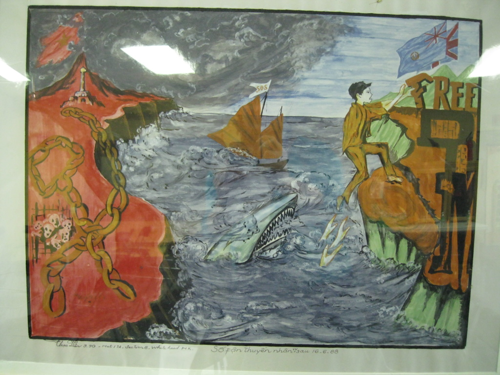 The Southeast Asian Archive at UC Irvine includes paintings by refugees from Vietnam, Cambodia and Laos, including this one depicting the escape from Communist Vietnam.