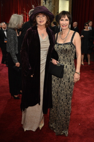 Producer Gale Ann Hurd (R) and Patt Morrison arrive at the Oscars at Hollywood & Highland Center on February 24, 2013 in Hollywood, California.