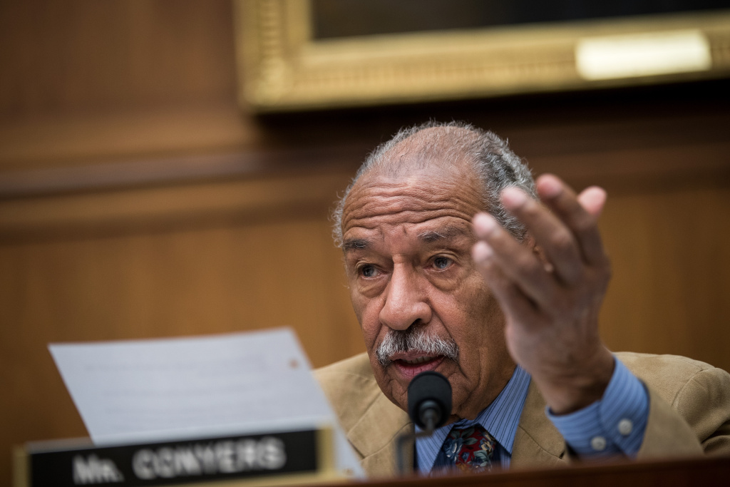 Rep. John Conyers (D-MI) questions witnesses during a House Judiciary Committee hearing concerning the oversight of the U.S. refugee admissions program, on Capitol Hill, October 26, 2017 in Washington, DC.
