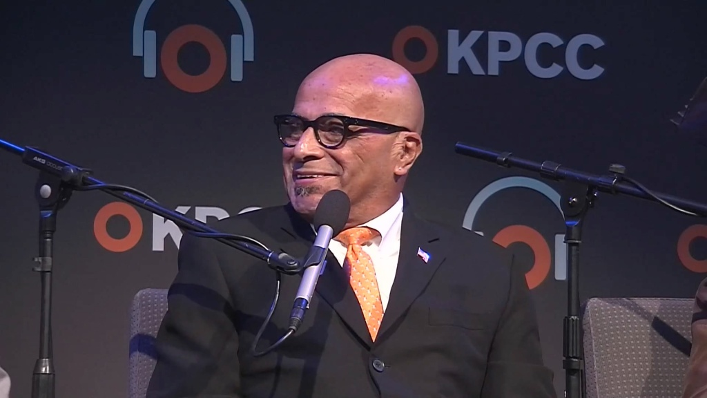 Civil rights activist and commentator Joe Hicks at a 2015 KPCC forum on the Watts riots. He died August 28, 2016, at the age of 75.