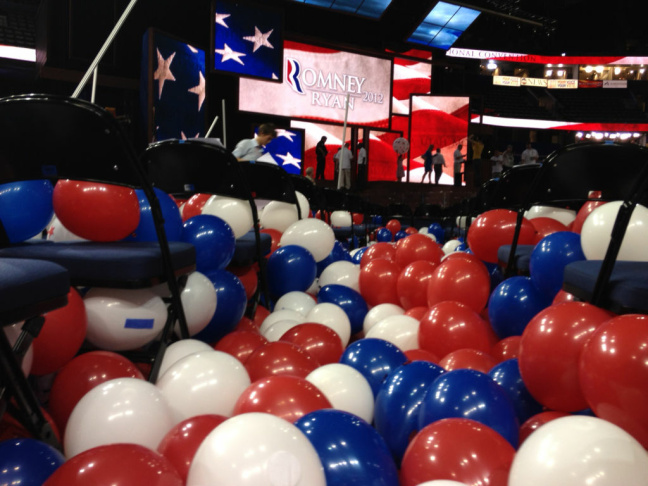 A shot of all the balloons left on the floor at the 2012 Republican National Convention.