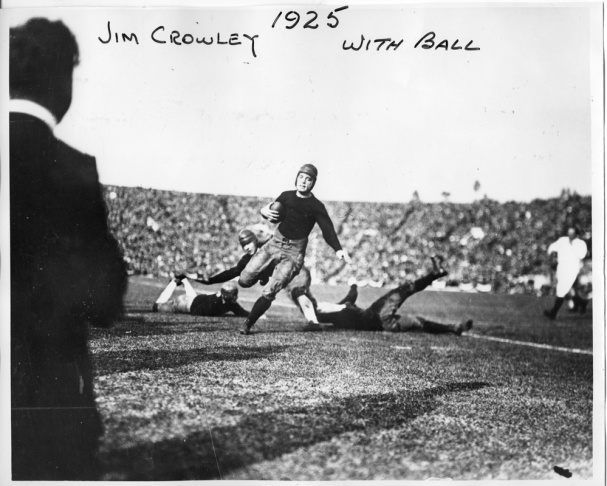 In 1923, USC and Penn State had the honor of playing the first New Year's Day game in the Rose Bowl. In this photograph, USC fullback Joseph Campbell (No. 33) runs to Penn State's one-yard line. Although the play resulted in three points for Penn State, USC ultimately won the game 14-3.