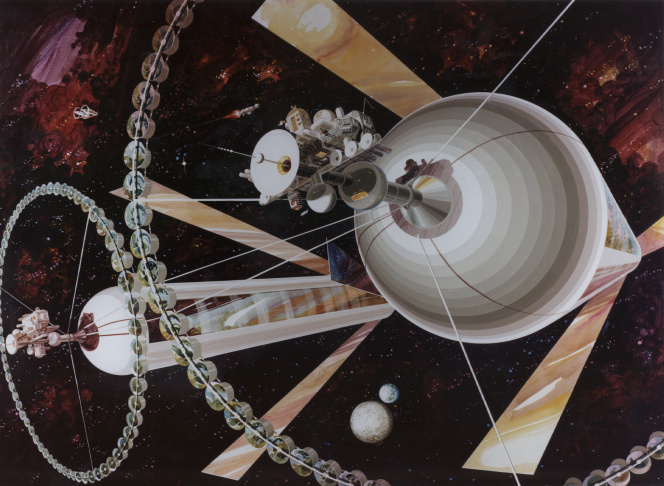 The interior of a toroid colony as imagined by Don Davis. Toroids would be immense rotating hoops lined with habitations.