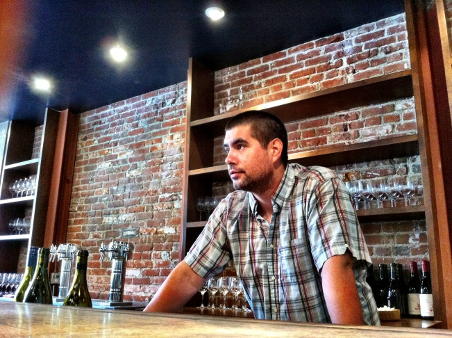 Randy Clement, co-owner of Everson Royce Wine in Pasadena. Note the taps for