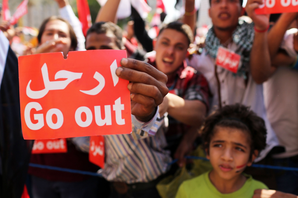 Protesters in Cairo's Tahrir Square demand the exit of Egyptian president Mohammed Morsi on July 3. Morsi has since been ousted by the military.