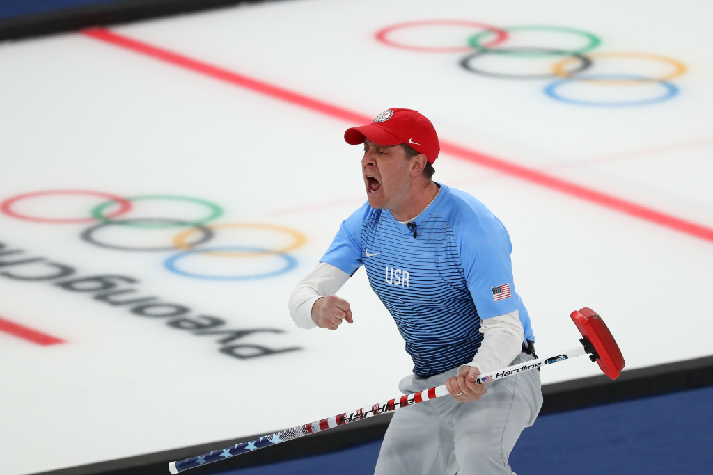 GANGNEUNG, SOUTH KOREA - FEBRUARY 24:  John Shuster of the United States reacts during the game against Sweden during the Curling Men's Gold Medal game on day fifteen of the PyeongChang 2018 Winter Olympic Games at Gangneung Curling Centre on February 24, 2018 in Gangneung, South Korea.  (Photo by Dean Mouhtaropoulos/Getty Images)