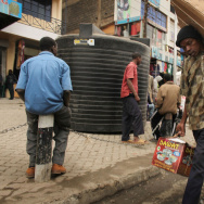 People walk down a market street in Eastleigh, a predominantly Muslim Somali neighborhood in Nairobi, Kenya, in 2009. The neighborhood has come under scrutiny as the U.S. cracks down on terrorism financing.