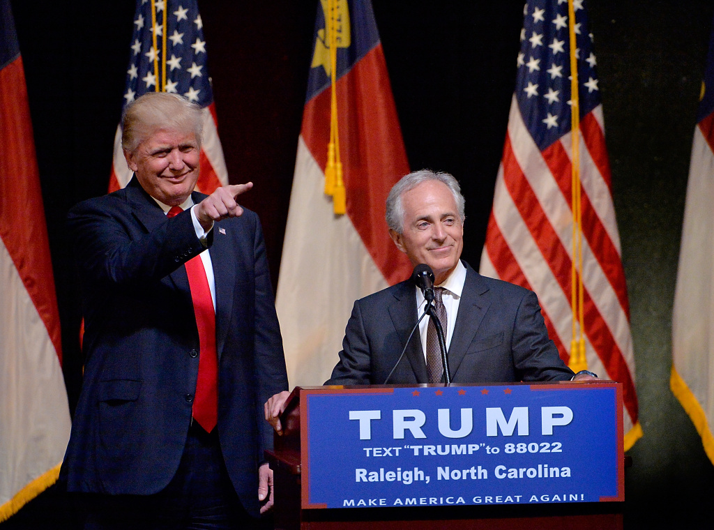 Presumptive Republican presidential nominee Donald Trump stands next to Sen. Bob Corker (R-TN) during a campaign event at the Duke Energy Center for the Performing Arts  on July 5, 2016 in Raleigh, North Carolina.