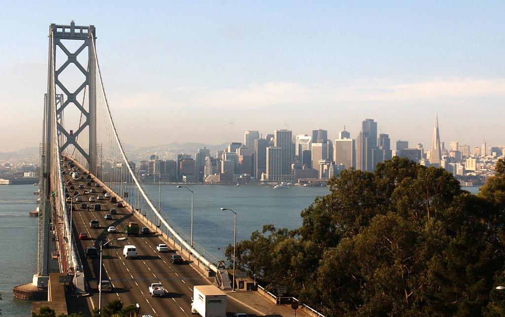 The western span of the San Francisco Bay Bridge and San Francisco skyline seen November 2, 2001.
