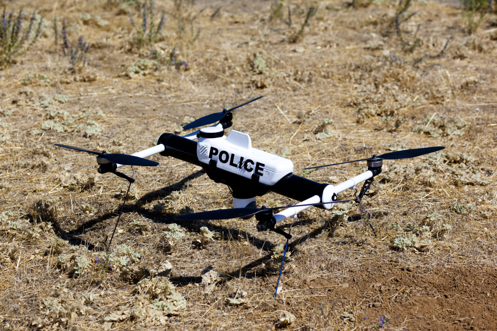 The FAA has given permission to law enforcement agencies to use small drones such as this one called the Qube. It weighs approximately five pounds, is three feet wide and has a camera installed.