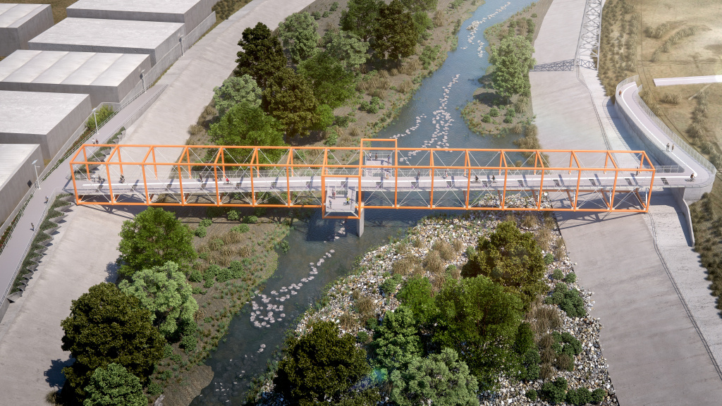 A rendering of the completed Taylor Yard Bikeway and Pedestrian Bridge, a 400-foot bridge that will connect Cypress Park and Elysian Valley. Construction on it will begin in April 2019.