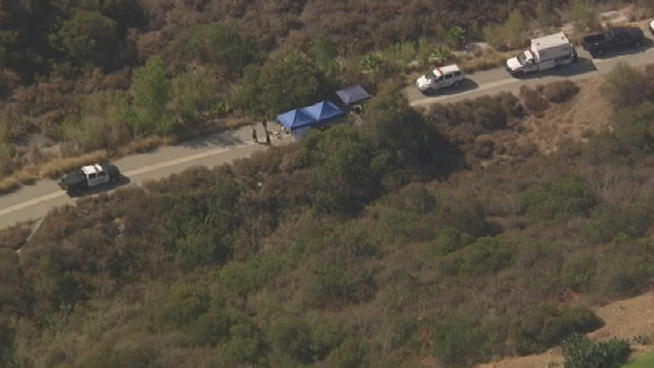 The scene in Burbank where police believe they have found the body of a missing FBI agent Stephen Ivens.