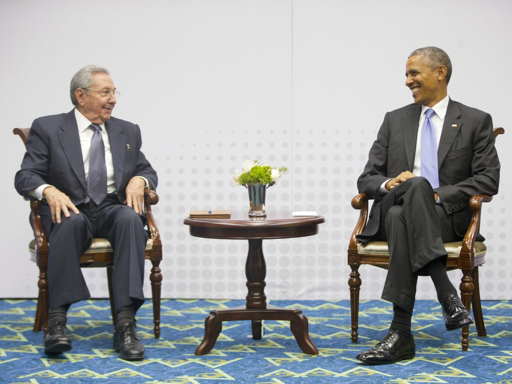 President Obama with Cuban President Raul Castro during their historic meeting at the Summit of the Americas in Panama City. The U.S. and Cuba were expected to formally announce Wednesday, July 1, 2015, the re-opening of embassies.