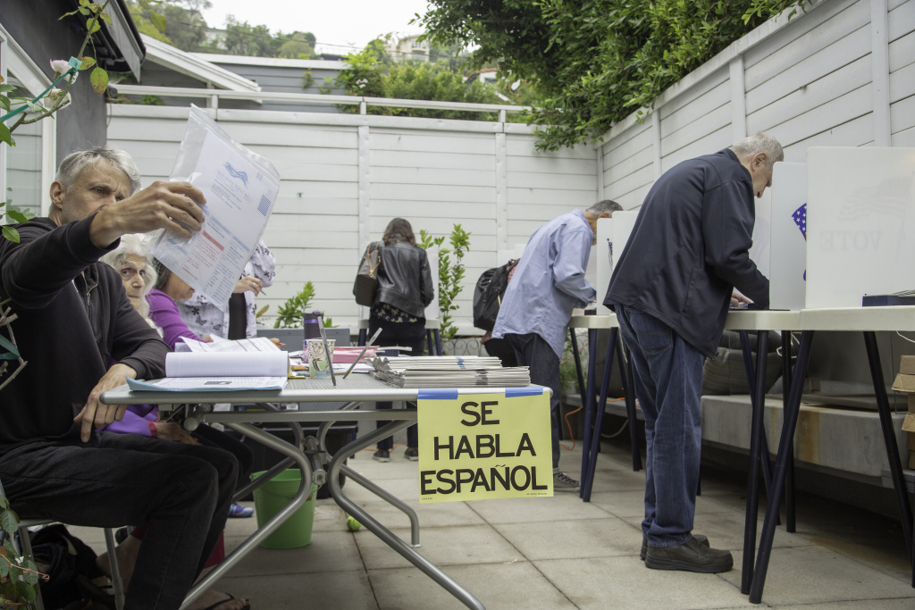 Voters in Beachwood Canyon, a Hollywood Hills neighborhood in Los Angeles, cast their ballots in the California primary election on Tuesday, June 5, 2018.