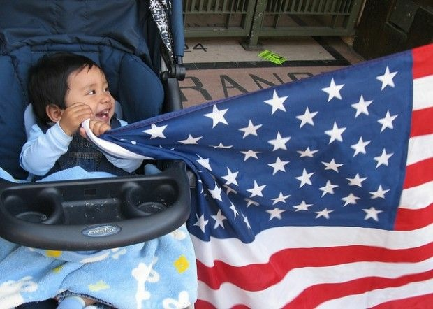 A baby at a May Day rally in downtown Los Angeles, May 1, 2010