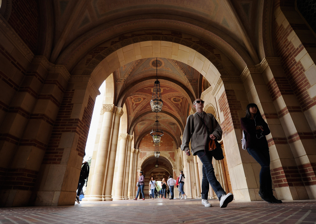 Students walk near Royce Hall on the campus of UCLA on April 23, 2012 in Los Angeles, California.