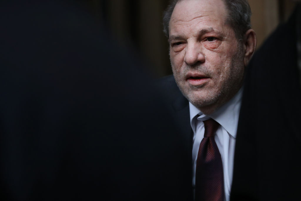 Harvey Weinstein exits a Manhattan court house as a jury continues with deliberations in his trial on February 20, 2020 in New York City.