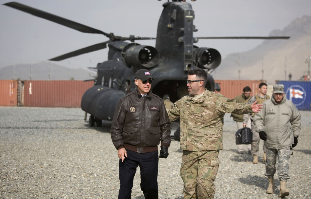 Joe Biden visits U.S. troops in Kabul, Afghanistan, in 2011, when he was vice president. Biden has been highly critical of President Trump's foreign policy and says he'll work to improve frayed relations with many traditional U.S. partners.