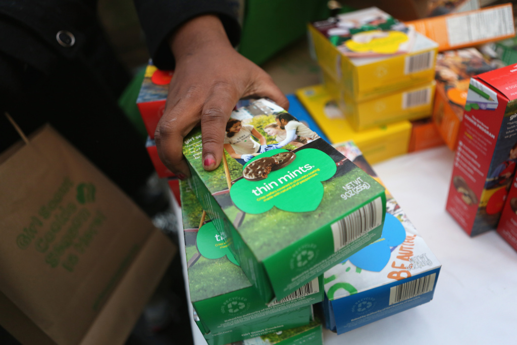 Girl Scouts sell cookies on February 8, 2013 in New York City.