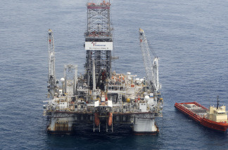 Workers on the Development Driller II drill a relief well at the site of the Deepwater Horizon oil spill on June 19, 2010 in the Gulf of Mexico off the coast of Louisiana. The BP oil spill has been called one of the largest environmental disasters in American history.