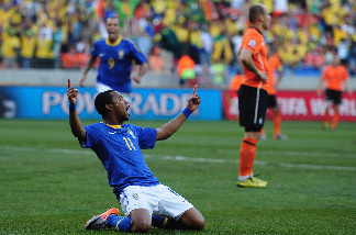Robinho of Brazil celebrates scoring the opening goal during the 2010 FIFA World Cup South Africa Quarter Final match between Netherlands and Brazil at Nelson Mandela Bay Stadium on July 2, 2010 in Nelson Mandela Bay/Port Elizabeth, South Africa.